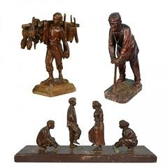 Graciano T. Nepomuceno: Three Sculptures of Philippine Folk Genre Figures (Leo Cloma) Tags: philippines antique antiques furniture art auction salcedo auctions makati manila cloma