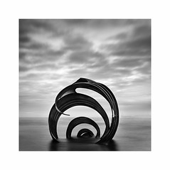Mary's Shell (Charles Connor) Tags: contrast clouds marysshell cleveleys lancashirecoast fyldecoast sculptures seasculpture monochromeseascapes seascapes monochrome mono blackandwhite longexposurephotography longexposures tranquility calmness 10stopndfilter canondslr