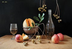 Ah, September! (Esther Spektor - Thanks for 12+millions views..) Tags: stilllife naturemorte bodegon naturezamorta stilleben naturamorta composition creativephotography art tabletop september food fruit cantaloupe peach wine slice plant pod stem bottle bowl goblet glass metal wooden ambientlight reflection green yellowred orange brown black estherspektor canon