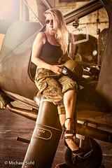 Airfield_shoot_4_2018_0260 (Michael_1703) Tags: anika camouflage copyrightmichaelsuhl dornierdo27 flecktarn flugzeughalle hangar highheels jethelm military militär people portrait porträt rkflugdienst sonnenbrille blond blonde onlocation sunglasses