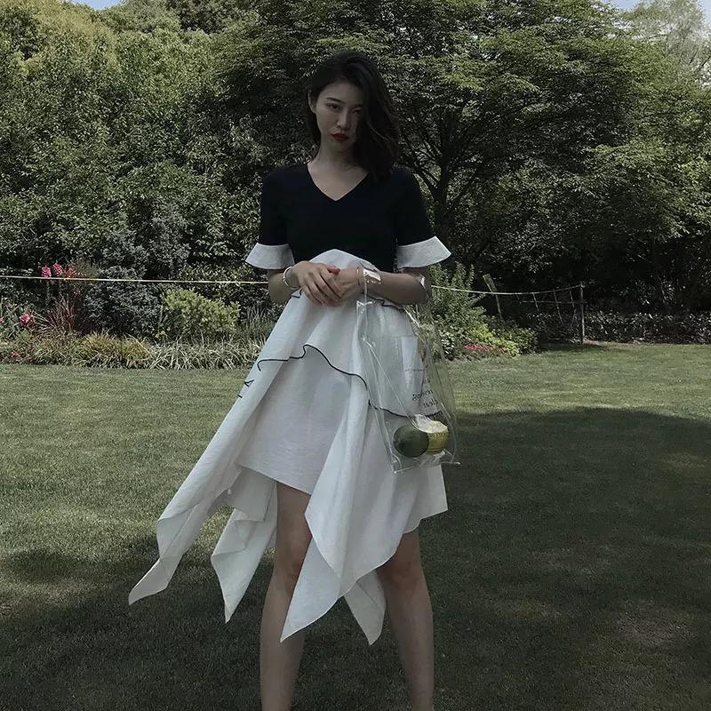 PP HOME new female Xia 2018 port temperament temperament skirt design design chic lazy Wind dress