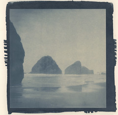 oregon coast rocks (lawatt) Tags: oregon coast rocks ocean altprocess cyanotype traditional revereplatinum
