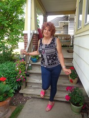 Smile Or Grimace? (Laurette Victoria) Tags: sandals leggings redhead curly woman laurette porch
