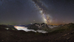 Galaxy and a bright perseid, Trekking around Elbrus (Mike Reva) Tags: astronomy astrophoto astrophotography astro cassiopea stars sky stargazing stillness samyang24 snow starrynight starry samyang night nightsky nature nghtsky nightscape travelling tourism milkyway milky mountains meteors canon6d samyang24mm