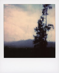 Polarado Rain (tobysx70) Tags: polaroid originals color sx70 instant film camera polarado rain tabernash colorado co water drops window pane glass bokeh outoffocus pine tree silhouette mountains landscape clouds sky polaradoone 072118 toby hancock photography