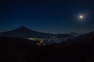 Fuji at moonlit night