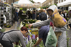 Point out the plant (jamiethompson01) Tags: columbia road market flower people workers street sunflowers rain sun bethnal green vinyl vintage zeiss 55mm 18f 2018 uk london fun united kingdom east end plants buy sell bank holiday weekend sunday groups trip chilli peppers bulbs