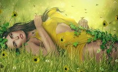 Jamily~Scent of grass (*closed for a while*) Tags: skipstaheli secondlife jamilllyhadisson grass summer yellow flowers butterflies bokeh cute happy