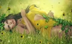 Jamily~Scent of grass (Skip Staheli *11 YEARS SL PHOTOGRAPHY*) Tags: skipstaheli secondlife jamilllyhadisson grass summer yellow flowers butterflies bokeh cute happy