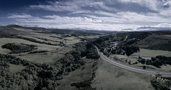 Above Daviot (ShinyPhotoScotland) Tags: daviot highlands drone djiphantom4advanced strathnairn river church churchofscotland hdr panorama affinityphoto landscape mankindnature quarry abuse sky clouds tone bluegreen cool sunny sunlight cairngorms monadhliath mountains awesome curves blue wispy rawtherapee trees nairn