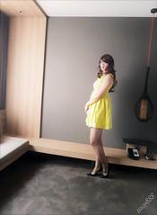 yellow dress with bow (felicia678) Tags: asiancrossdresser asiancd asian pantyhose pantyhosefetish pleasebegentle nylons brownpantyhose sissy dress cd crossdressing crossdresser highheels