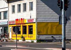 Mini Market (RWYoung Images) Tags: rwyoung olympus em1mk11 finland rovaniemi corner street urban yellow