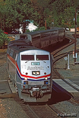 Hopelessly Late (C.P. Kirkie) Tags: amtrak amtk passengertrain california dunsmuir northerncalifornia sacramentorivercanyon coaststarlight amtrakcoaststarlight ge generalelectric trains railroads superliner