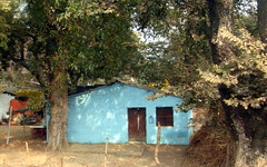 turquoise house (kexi) Tags: india asia house turquoise trees view painterly samsung wb690 february 2017