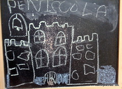 The castle in my thought. (Angela Curado) Tags: angelacurado angelacuradodrawings castle vacaciones holidays blackboard penyiscola memory