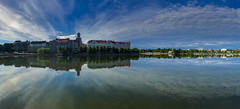 Helsinki Reflecting (CraDorPhoto) Tags: iphone panorama water lake reflection clouds sky blue buildings architecture outdoors helsinki finland