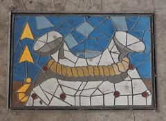 Marine Mosaic (mikecogh) Tags: portadelaide bollard mosaic publicart wharf rope