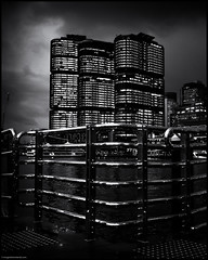 Barangaroo - Sydney Harbour (niggyl (well behind)) Tags: sky sunset sundown cloudsstormssunsetssunrises cloudporn cloud cloudformations cloudscape fujifilm fujinon fujifilmx70 x70 bluehour rain fogandrain monochrome blackandwhite blackandwhitelandscape lowkeyblackandwhite noir barangaroo pyrmontbay sydneyharbour sydney vividsydney2018 silverefexpro2
