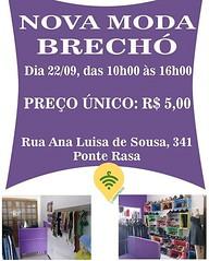 ⚠ VILA PONTE RASA  - SP (BF) Organizadores: @novamodabrecho Data: 22/09 Horário: 10hs ás 16hs Local: Rua Ana Luísa de Sousa, 341- Ponte Rasa  CEP: 03882-170  Preço único: R$ 5,00  Provador: SIM  Formas de Pagamento: Dinheiro e cartão (crédito ou débito) (garimpasso) Tags: instagramapp square squareformat iphoneography uploaded:by=instagram