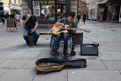 DSC_0014 (richardclarkephotos) Tags: simon john from cornwall guitar busking tour south england bath somerset uk spotty herberts signwriting guitarbitz cafe shops small retailers guildhall marketowl owls minerva