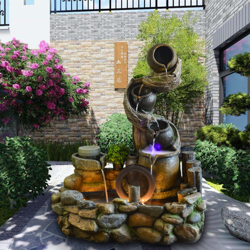 Water story, flowing water, indoor decoration, courtyard, balcony, sitting room, rockery fountain, fishpond.
