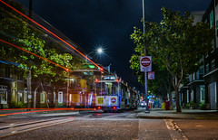 moving into the lineup (pbo31) Tags: sanfrancisco california city urban nikon d810 night dark black color august 2018 summer boury pbo31 lightstream roadway traffic motion littleitaly cablecar taylorstreet turnaround tourist transit muni fishermanswharf powell mason blur line