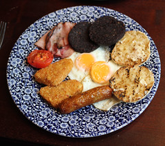 Modified Breakfast . (AndrewHA's) Tags: hertfordshire bishopsstortford weatherspoons breakfast food egg sausage bacon black pudding tomato hash brown toasted muffin