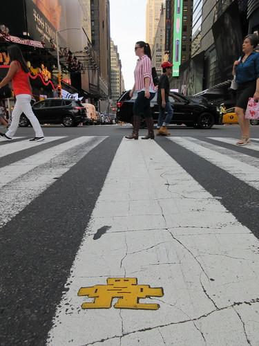 Yellow Robot Tile Stikman on 42nd St Crosswalk 8780