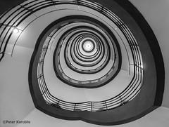 Hamburg - Sprinkenhof (peterkaroblis) Tags: hamburg treppenhaus staircase haus house building gebäude innenansicht architektur architecture interiordesign schwarzweiss blackwhite innenarchitektur interieur interiorarchitecture lines curves linesandcurves geometry geometrie