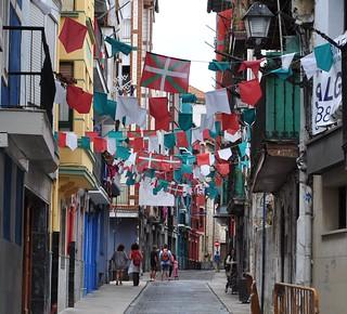 Bidebarrieta kalea, vieille ville, Bermeo, comarque de Busturialdea, Biscaye, Pays basque, Espagne.