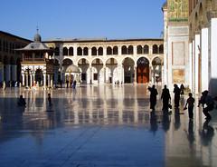 Umayyad Mosque, Damascus (iwys) Tags: damascus umayyad mosque syria great floor reflection blue sky arab women hijab