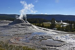 hell chimney (t.horak) Tags: blue white chimney smoke lake forest yellowstone usa thermal