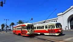 The Embarcadero SF (lhb-777) Tags: pcc san francisco usa embarcadero pier tram rails spoor track vervoer transport rules 1009 1062 streetcar