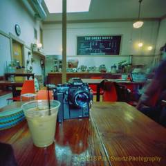 3-D Printed Pinhole (Paul Swortz) Tags: 160iso 2018 nikonf3 c41 camera coffee coffeeandcameras coffeeshop color colornegative film kodakportra pinhole portland swortz terrapinoskar6x6 thegreatnorthcoffee