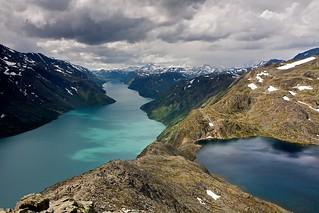 View from Besseggen Ridge: Lake Gjende and Lake Bessvatnet