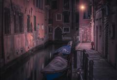 Venetian paths 108(Rio Cà Garzon) (Maurizio Fecchio) Tags: venice venezia italy italia city cityscape street lights night nightcity nopeople boats architecture travel water tranquility nikon