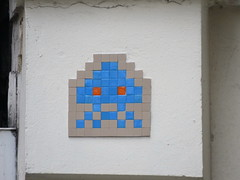 Space Invader PA_063 (tofz4u) Tags: 75011 paris streetart artderue invader spaceinvader spaceinvaders mosaïque mosaic tile pa63 pa063 reactivated restauré spacerescueintl reactivationteam blue bleu beige