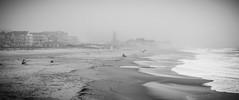 Ocean Grove beach (Ocean Grove, NJ) (Steve Stanger) Tags: beachseries beach beachscape summer localssummer fog foggy morning monmouthcountynj monmouthcounty shore shoreline ocean sand sky clouds nj njshore jerseyshore jesey oceangrove beachscene bathers blackandwhite blackwhite bw olympus olympusomdem10markii lumixg25mmf17 seascape