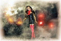 Out of the Fog (marieschubert1) Tags: teresa mattel barbie doll fog weather wet lights foggy street red boots black dress