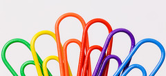 Rainbow Paperclips (fingerprints1148) Tags: multicolor macromondays red green blue orange purple yellow colors paperclips rainbow office