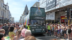 Another Parade, Another Point To Make. (ManOfYorkshire) Tags: gay professional football footballers out proud pride parade commbuss nottingham daimler 1973 2018 procession hard work willowbrook opentop bus footballer message point empty eto161l people crowd crowds stewards hiviz brighton sussex