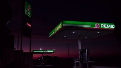 Gas station (martinezabryl) Tags: landscape road film gasoline fuel type car sunset light night gasstation