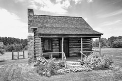 Cross Keys Plantation Log Cabin Out Building (rschnaible (On Holiday)) Tags: cross keys plantation union the south carolina outdoor landscape farm farming work production building architecture log cabin bw black white photography old historic history monotone