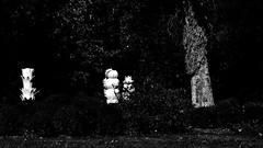 12 - Ecuisses (Bourgogne), La Villa Perrusson et son jardin, Sculptures en céramique de Frédérique Fleury (melina1965) Tags: août august 2018 panasonic lumix dmctz57 bourgogne burgondy saôneetloire écuisses villaperrusson jardin jardins garden gardens sculpture sculptures noiretblanc blackandwhite bw arbre arbres tree trees