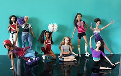 Go Girls 💙 (Lo_zio87_Barbie Collector) Tags: claudettegordonmold marina miko skater madetomove fashonistas skipper torisculpt curvy blackdoll asiandoll fitness yoga break dance