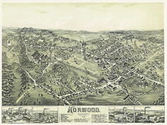 Norwood, Mass., 1882 (State Library of Massachusetts) Tags: norwoodmassachusetts norfolkcounty birdseyeview map aerialview