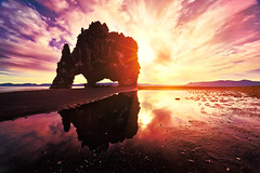 Hvitserkur Arch (azhukau) Tags: nature rockobject sea landscape beach outdoors cliff scenics sky mountain coastline travel summer cloudsky beautyinnature stoneobject famousplace iceland hvitserkur arch idyllic costline horizon dawn outside colours pinkcolour pink red clouds landmark sunbeam reflections basalt seascape season traveldestination sand shore shoreline tranquil