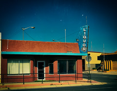 The Calamity in Clayton (Orson Wagon) Tags: newmexico liquor bar saloon drink beer wine whiskey vodka gin old decay abandoned empty street small town city neon sign