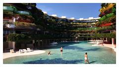 Blue lagoon (Jean-Louis DUMAS) Tags: rêve dream water hôtel architectural architecturale architecture architect lagoon lagon baléares ibiza