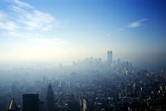 The Twin Towers (erichudson78) Tags: paysageurbain newyorkcity usa nyc manhattan urbanlandscape slide film diapositive ciel gratteciel sky skyline skyscraper brume mist twintowers ville town tribute nuages clouds